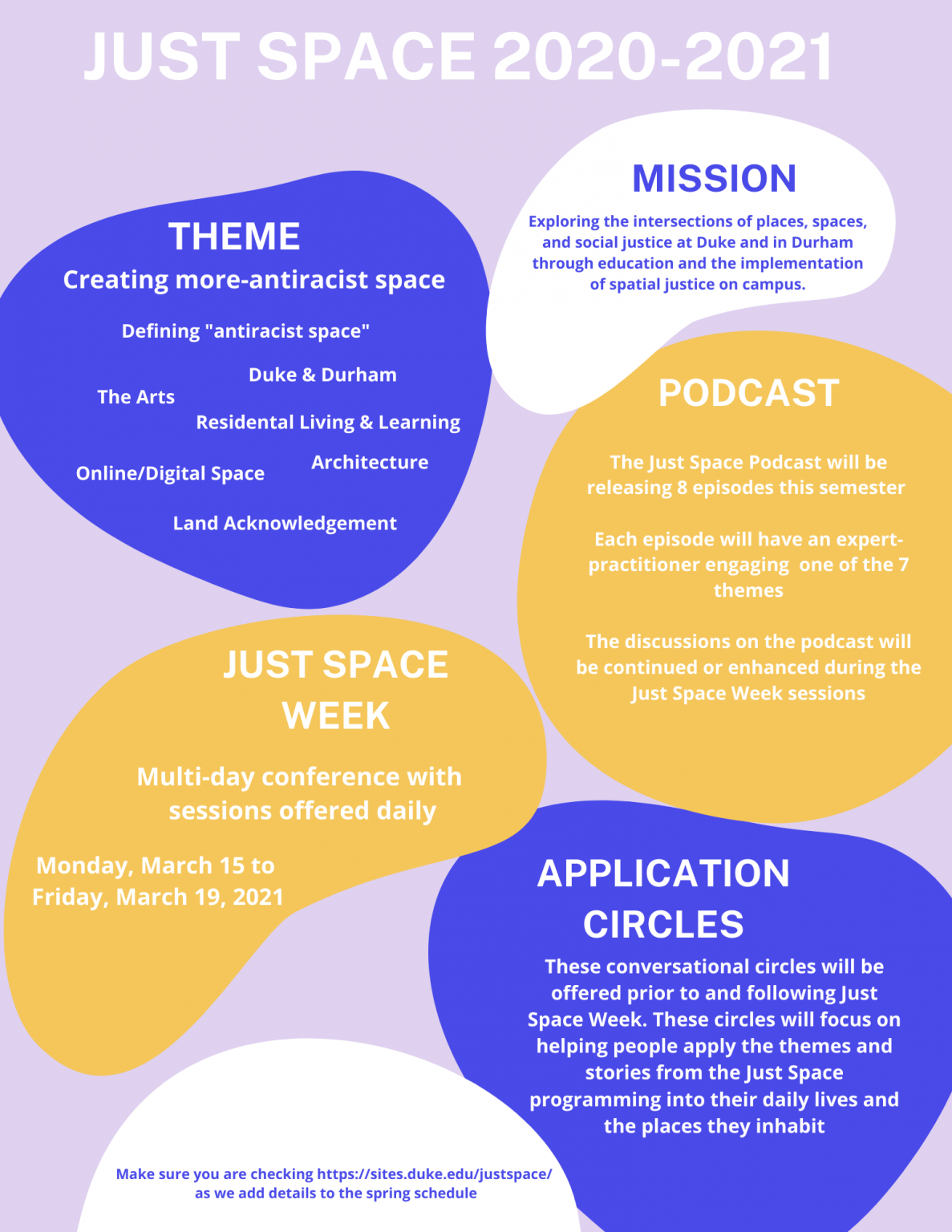 JustSpace image blob including desscription of theme, mission, and info on justspace week